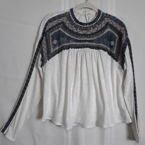 Free People long sleeve embroidered top size M